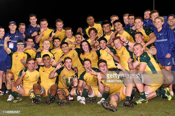 Australian players celebrate winning the Oceania U20 Championship after beating the New Zealand U20s at Bond University on May 04 2019 in Gold Coast...