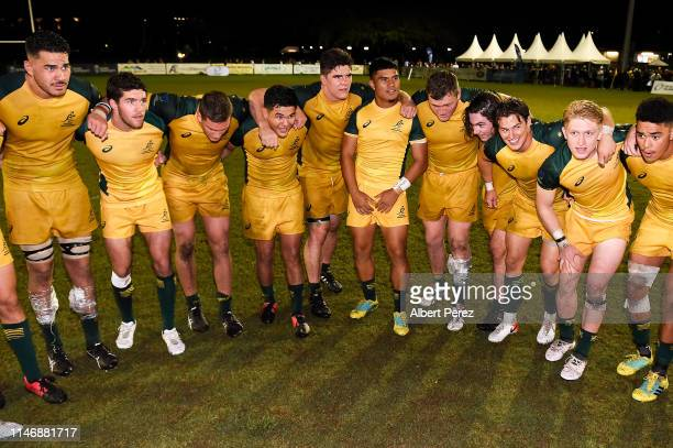 Australian players celebrate winning the Oceania U20 Championship after beating the New Zealand U20 at Bond University on May 04 2019 in Gold Coast...