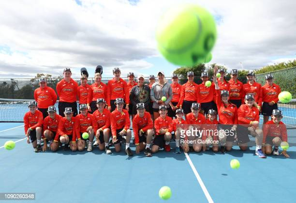 Australian players Ellen Perez and Zoe Hives pose with the ball kids during day two of the 2019 Hobart International at Domain Tennis Centre on...
