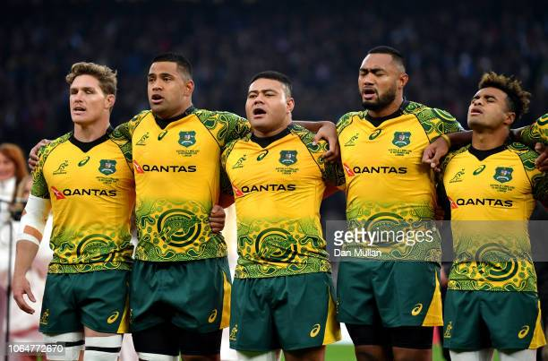Australian players line up during the national anthem during the Quilter International match between England and Australia at Twickenham Stadium on...