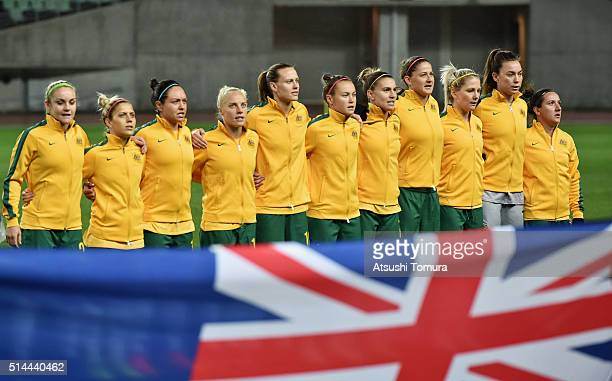 Australian players line up for the national anthem prior to the AFC Women's Olympic Final Qualification Round match between Australia and China at...
