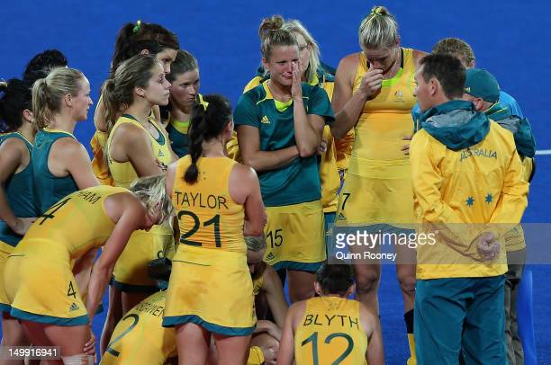 Australian players look dejected after the Women's Hockey match between Argentina and Australia on Day 10 of the London 2012 Olympic Games at...