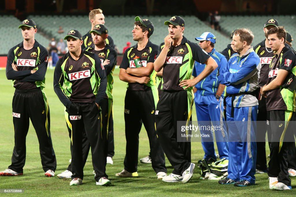 Australian players look on after the International Twenty20 match between Australia and Sri Lanka at Adelaide Oval on February 22, 2017 in Adelaide, Australia.