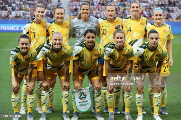 Australian players pose ahead of the the France 2019 Women's World Cup round of sixteen football match between Norway and Australia on June 22 at the...