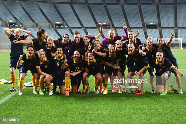 Australian players pose for photographs after their qualification for the Rio de Janeiro Olympics after their 2-1 win in the AFC Women's Olympic...