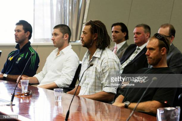 Australian players Ricky Ponting Michael Clarke Andrew Symonds and Matthew Hayden are seen prior to the start of the appeal hearing against a...