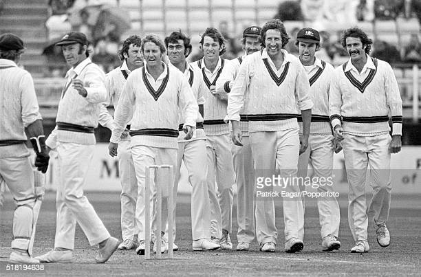 Australian players Rodney Marsh Doug Walters Ian Chappell Ross Edwards Alan Turner Rick McCosker Ashley Mallett Max Walker Greg Chappell and Dennis...