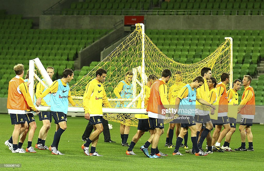Australian players set up a goal during an Australian Socceroos training session at on May 20, 2010 in Melbourne, Australia.