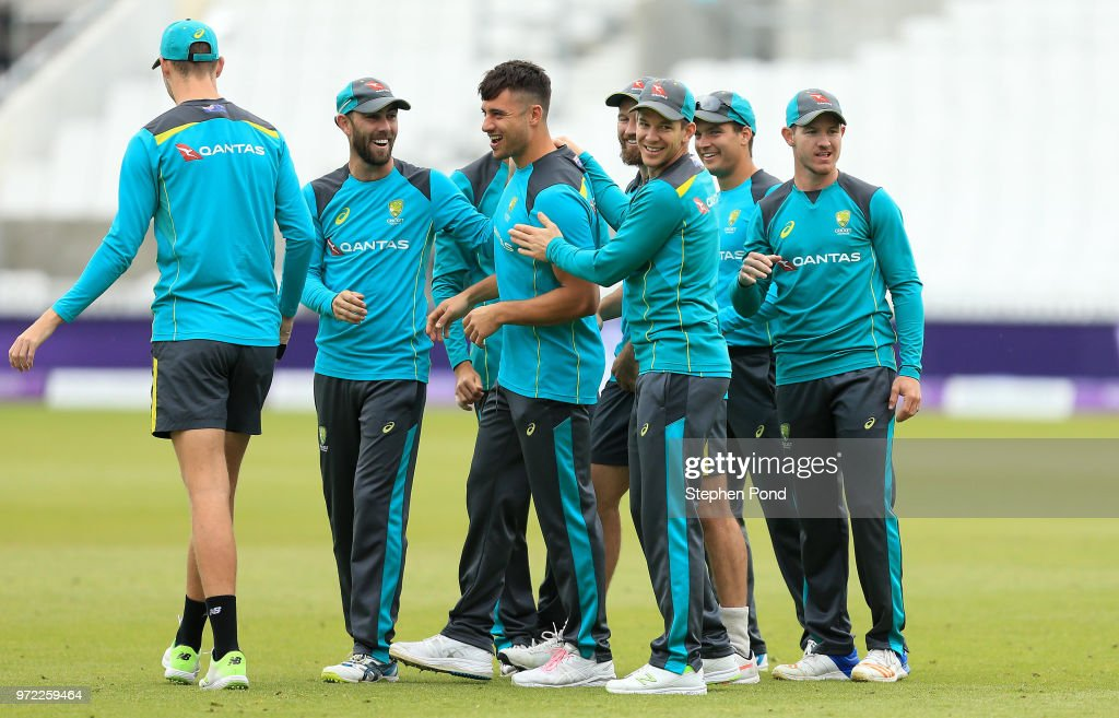 Australian players share a joke during an Australia Net Session at The Kia Oval on June 12, 2018 in London, England.