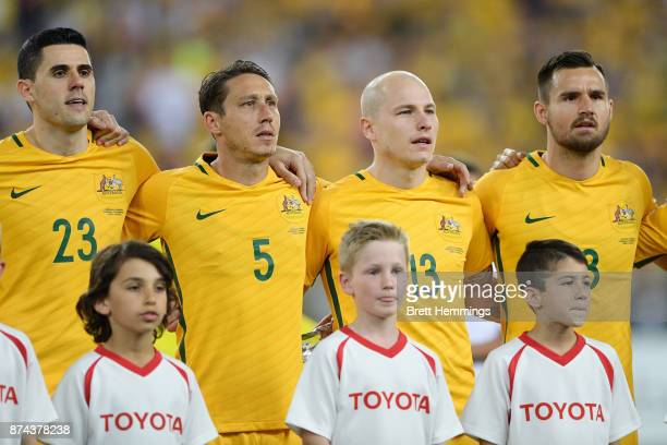 Australian players stand for the anthem during the 2018 FIFA World Cup Qualifiers Leg 2 match between the Australian Socceroos and Honduras at ANZ...