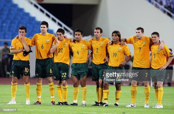 Australian players watch as David Carney steps up to score his penalty during the AFC Asian Cup 2007 Quarter Final between Japan and the Australian...