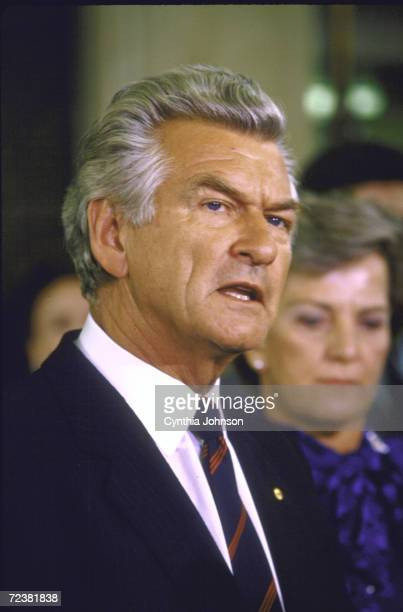 Australian PM Robert Hawke speaking to the press