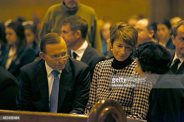 Australian PM Tony Abbott and wife Margie with NSW Governor Dr Marie Bashir during the memorial service for the victims of flight MH17 at St Mary's...