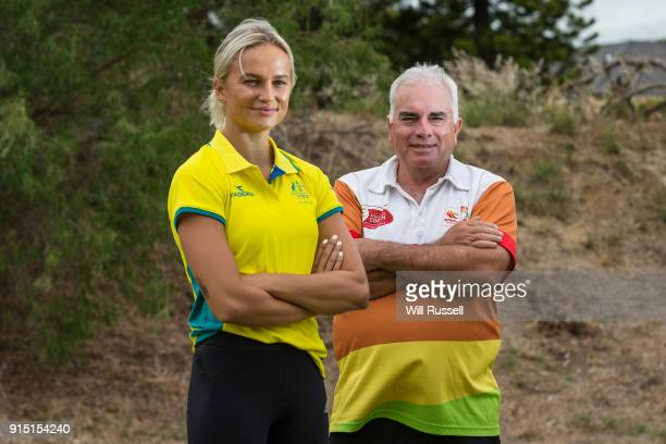 Australian Pole vaulter Liz Parnov and Sporting Schools coach John Cowan pose for photos during the Commonwealth Games Schools Sporting Program...