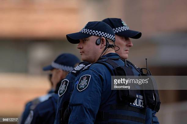 Australian police monitor activity on day four of the Asia-Pacific Economic Cooperation meeting in Sydney, Australia, on Wednesday, Sept. 5, 2007. A...