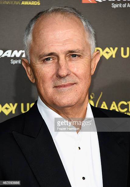 Australian politician Malcolm Turnbull arrives at the 2015 G'Day USA Gala Featuring The AACTA International Awards Presented By QANTAS at the...