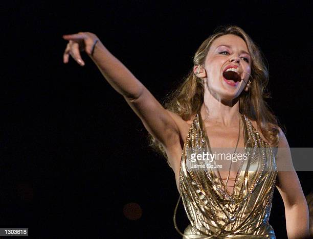 Australian pop sensation Kylie Minogue performs October 18 2000 during the opening of the Sydney 2000 Paralympic Games at Sydney Olympic Park in...
