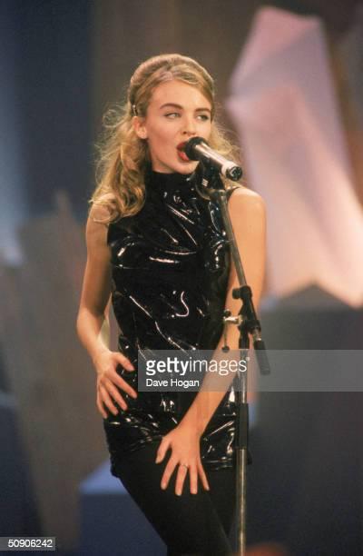 Australian pop star Kylie Minogue performs in Antwerp November 1990