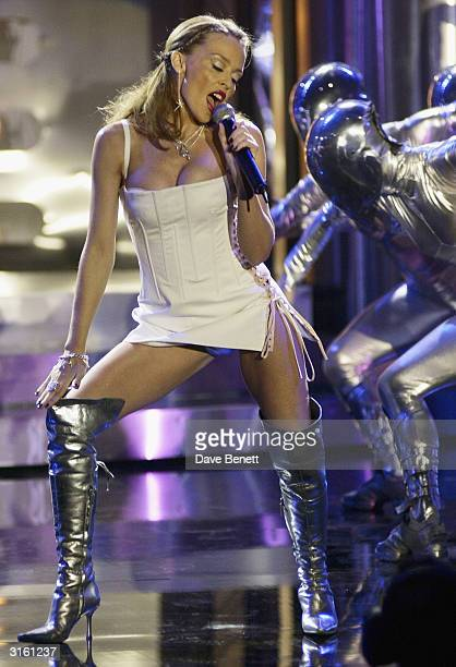 Australian pop star Kylie Minogue performs on stage during rehearsals at the 2002 Brit Awards held at Earls Court on February 20th 2002 in London