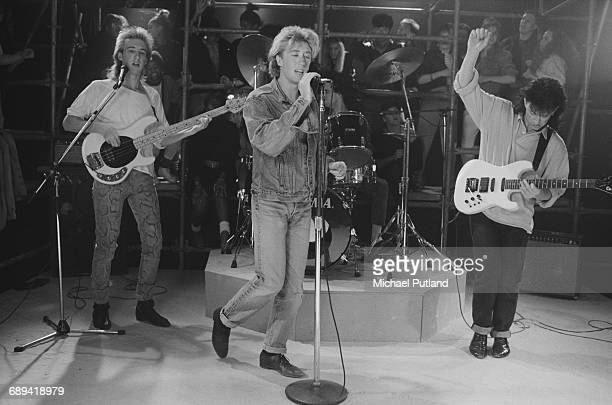 Australian pop/funk group Wa Wa Nee performing on a TV show 24th June 1987 Left to right Mark Gray Paul Gray Chris Sweeney and Steve Williams
