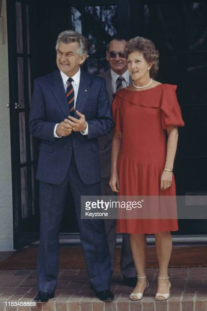 Australian Prime Minister Bob Hawke and his wife Hazel In front of Government House Canberra 24th March 1983 They are about to meet Prince Charles...