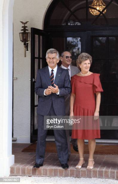 Australian Prime Minister Bob Hawke and his wife Hazel on the steps of Government House as they await the arrival of Princess Diana and Prince...