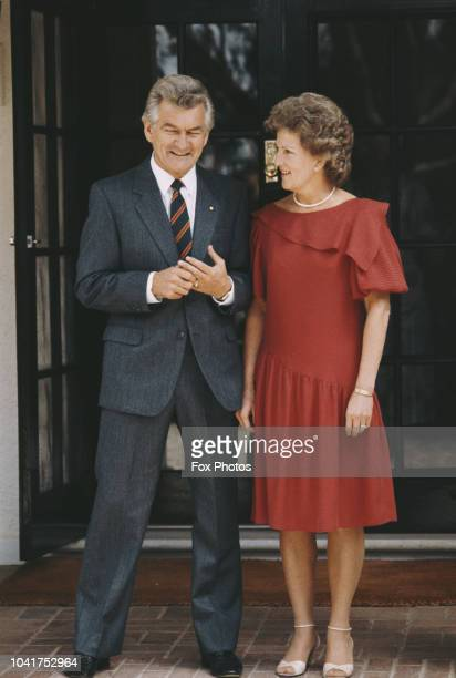 Australian Prime Minister Bob Hawke with his wife Hazel in front of Government House in Canberra Australia 24th March 1983 They are awaiting the...