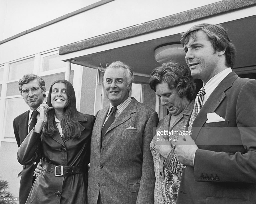 Australian Prime Minister Gough Whitlam arriving at Heathrow airport for an official visit to London, 21st April 1973. He is with his wife Margaret, daughter Catherine and sons Nicholas, left and Anthony.