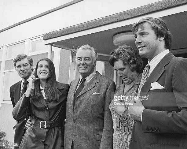 Australian Prime Minister Gough Whitlam arriving at Heathrow airport for an official visit to London 21st April 1973 He is with his wife Margaret...