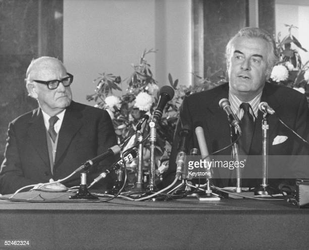 Australian Prime Minister Gough Whitlam at a press conference at Australia House London at the end of an official visit to Britain 25th April 1973...