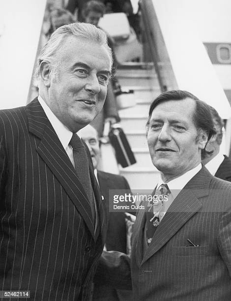 Australian Prime Minister Gough Whitlam is welcomed at London Airport by David Ennals 19th December 1974 Whitlam is in Britain for talks with prime...