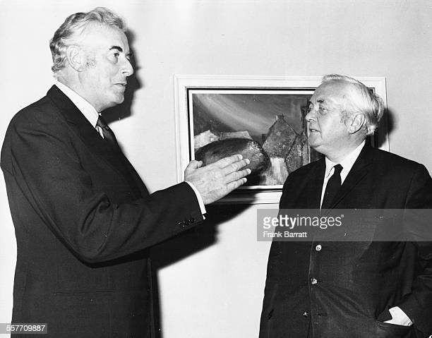 Australian Prime Minister Gough Whitlam talking to British Leader of the Opposition Harold Wilson at a meeting at the St Ermins Hotel Westminster...