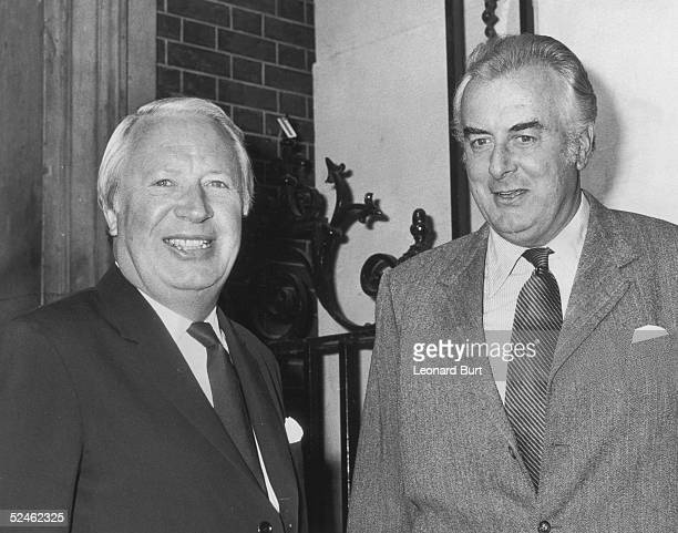 Australian Prime Minister Gough Whitlam with British Prime Minister Edward Heath at 10 Downing Street during an official visit to Britain by Gough...