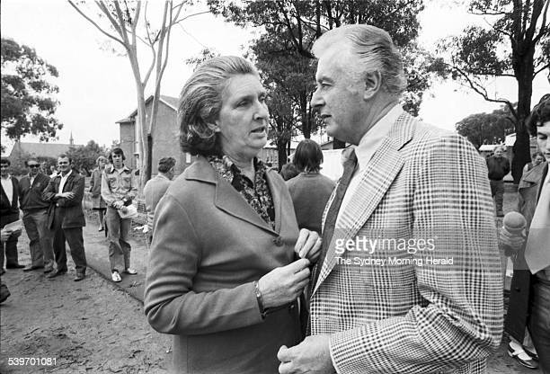 Australian Prime Minister Gough Whitlam with his wife Margaret Whitlam outside Cabramatta East Public School in Sydney after voting in the 1974...