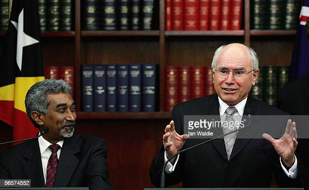 Australian Prime Minister John Howard and East Timor Prime Minister Mari Alkatiri hold a press conference on the signing of the treaty on maritime...