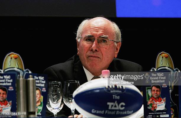 Australian Prime Minister John Howard looks on during the TAC Cup Grand Final breakfast at the Melbourne Exhibition Centre September 30 2006 in...