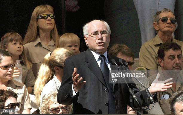 Australian Prime Minister John Howard speaks during a memorial service for Australian environmentalist and television personality Steve Irwin while...