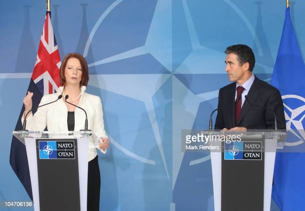 Australian Prime Minister Julia Eileen Gillard and NATO Secretary General Anders Fogh Rasmussen hold a press conference at NATO Headquarters on...