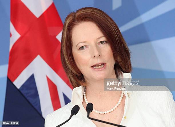 Australian Prime Minister Julia Eileen Gillard holds a press conference with NATO Secretary General Anders Fogh Rasmussen at NATO Headquarters on...