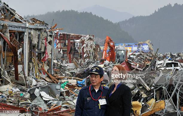 Australian Prime Minister Julia Gillard accompanied by Jin Sato Mayor of Minamisanriku visits the tsunami and earthquake disaster sites in the town...