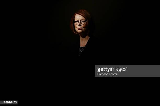 Australian Prime Minister Julia Gillard addresses party members at the University of Western Sydney on March 3 2013 in Sydney Australia The Prime...