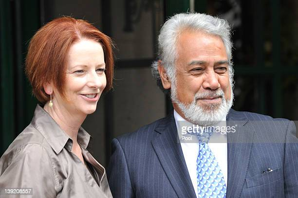 Australian Prime Minister Julia Gillard and East Timorese Prime Minister Xanana Gusmao pose for photographers at the Lodge on February 18 2012 in...