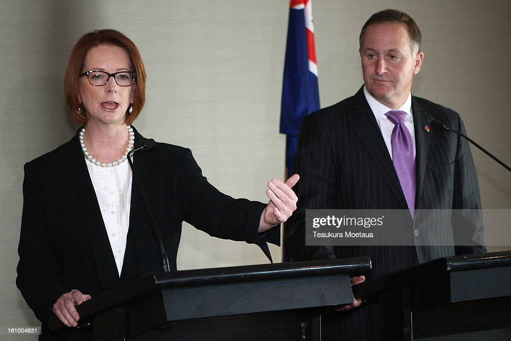 Australian Prime Minister Julia Gillard and New Zealand Prime Minister John Key talk to the media at Hilton Hotel on February 9, 2013 in Queenstown, New Zealand. The two are holding two days of talks on the economy and Asia-Pacific defence matters.