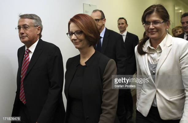 Australian Prime MInister Julia Gillard and supporters enter the caucus room for the leadership ballot at Parliament House on June 26 2013 in...