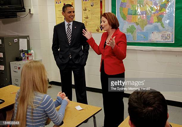 Australian Prime Minister Julia Gillard and US President Barack Obama take questions from students of Wakefield High School in Virginia.