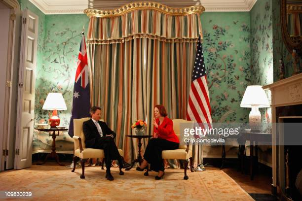 Australian Prime Minister Julia Gillard and US Treasury Secretary Timothy Geithner meet at the Blair House across the street from the White House...
