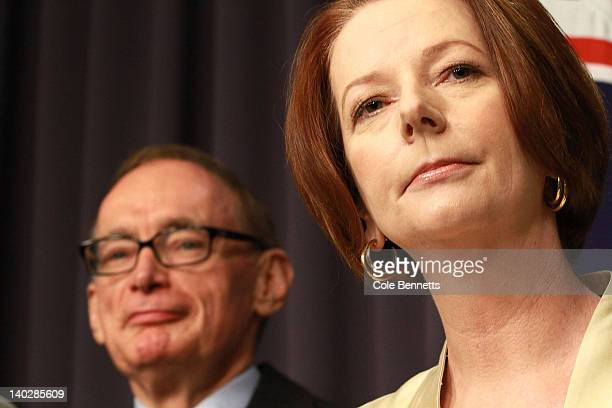Australian Prime Minister Julia Gillard announces the make up of her reshufffled cabinet during a press conference at Parliament House on March 2...
