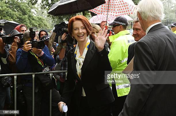 Australian Prime Minister Julia Gillard arrives before the International Tour Match between the Prime Minister's XI and Sri Lanka at Manuka Oval on...