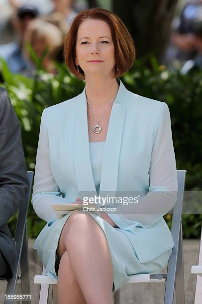 Australian Prime Minister Julia Gillard attends the naming of Queen Elizabeth Terrace at Parkes Place on November 10 2012 in Canberra Australia The...