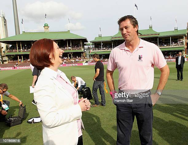 Australian Prime Minister Julia Gillard chats with former Australian cricketer Glenn McGrath out on the field ahead of day three of the Fifth Ashes...